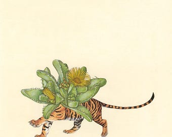Tiger jaw. Original mixed media collage by Vivienne Strauss.