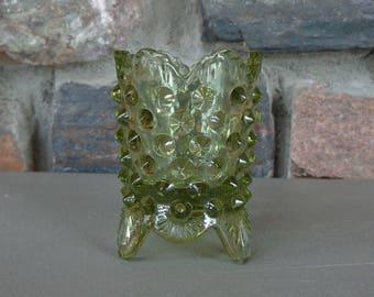Vintage Fenton Light Green Hobnail Glass Toothpick Holder