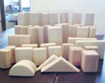 Blocks, Natural Pine Wooden Blocks w Natural Petina Wooden Blocks are made for Children 5 & up.  a Free Hand Made Car Included