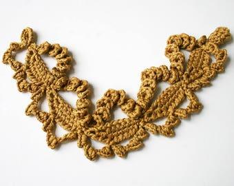 Golden Silk Textile Necklace, Crocheted, Fiber Art Jewelry, Textile Jewelry, Natural, Unusual, Boho, Elegant, Unique