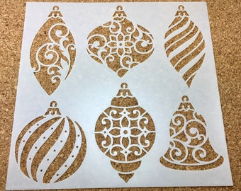 CHRISTMAS ORNAMENTS Xmas Tree  Bulbs TCW  6 x 6 Stencil