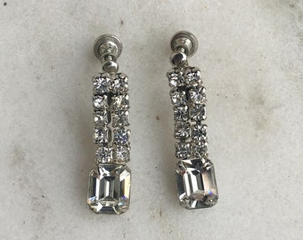 Vintage Rhinestone Drop Earrings, 1950's, Screw Back, Screwback, Chaton and Square Shaped Stones