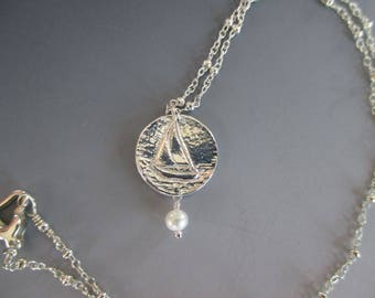 Fine Silver Sailboat Ivory Freshwater Pearl Sterling Silver Necklace