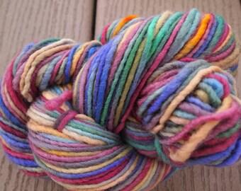 Handpainted Yarn Wool 119yards Worsted Weight Knitting Aspenmoonarts Hand Painted Purple Blue Gold Magenta C011A Felting