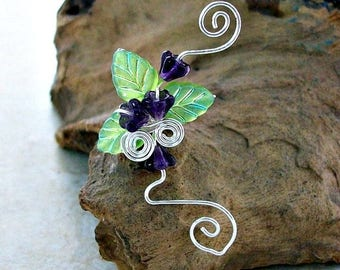 ON SALE Fairy Garden Ear Cuff No Piercing Ear Climber Vine,  Spring Jewelry, Boho Nature Inspired Ear Jacket