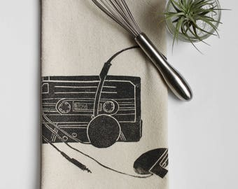 80's Inspired Tape and Headphones Block Printed Flour Sack Towel-100% cotton towel