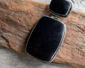 Large Black Onyx and Sterling Silver Pendant || Earthy and Organic | Natural Black Onyx Stones | Vintage Black Onyx Stone Pendant Under 80