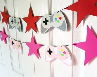 Video Game Garland, Video Game Banner, Bunting. Gamer Party. Video Game Party. Room Decor Choice of Colour, READY TO SHIP