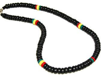 Rasta Style Necklace 8mm Dia. Coconut Beads 18 or 22 Inch Lengths 7005