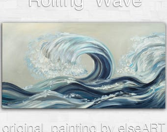 Sale Original painting abstract sea art Rolling Wave large landscape painting on gallery wrap canvas Ready to hang by tim Lam 48x24