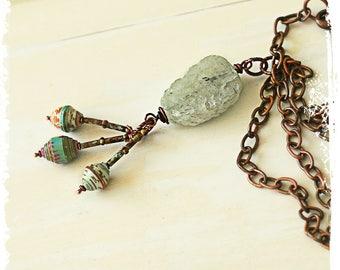 Prenhnite pendant necklace, Raw stone necklace pendant, Copper chain necklace, Rutilated prehnite pendant, August birthday jewelry