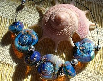 Lampwork beads/SRA lampwork/beads/ammonites/silver foil/opals/lentils/Double Helix/