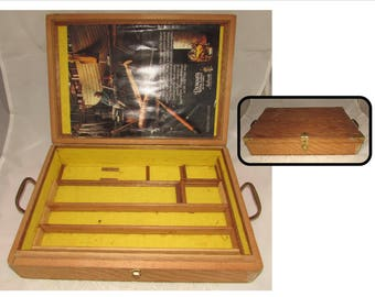 Vintage Wooden Storage Box with Brass hardware, wood carving tools carrying case