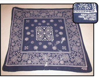 Vintage Faded Blue Cotton Bandana Neck Scarf, Fast Color 100% Cotton RN 13960, worn, western, workers hankie