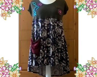 Purple and Green Roses Upcycled Dress. Size Medium. Refashioned Unique Clothing. Applique Detail and Patch Pocket.