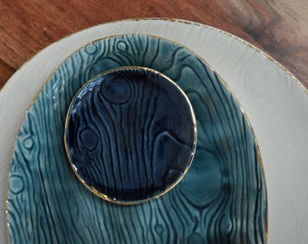 SALE Navy Blue Gold Rim Ring Dish - Faux Bois Wood grain Ceramic Plate Pottery Wedding Gift Housewarming Gift