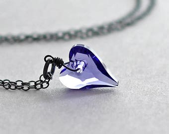 Crystal Heart Necklace Swarovski Tanzanite Purple Valentines Day Gift for Her Heart Pendant Necklace Oxidized Romantic Gift Canadian Seller