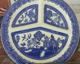 Blue Willow (Style) Divided Grill Plate Blue & White