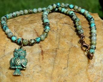 Boho Choker African Turquoise Gemstone Necklace