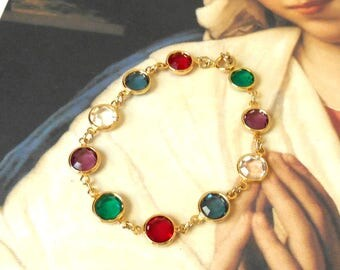 Vintage Open Back Multi Colored Swarovski Crystal Bracelet, Bezel, Open Back Crystal, Emerald Green, Purple Amethyst, Montana Blue, Siam Red