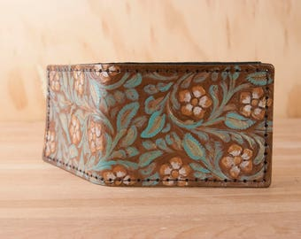 Tooled Leather Bifold Wallet - Handmade Mens or Womens wallet - Sage, Gold and Antique Brown - Third Anniversary gift