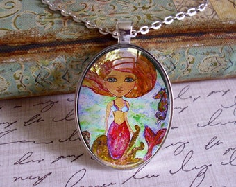 Mermaid Octopus and Seahorse... gift box included, Ready To Ship, mermaid pendants, mermaid jewelry,mermaids, mermaid pendants