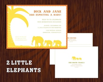Little Elephant mom + Baby Jungle Shower Invitation, baby announcement, elephant theme shower, personalized baby invite, high quality invite