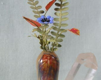 Dragonfly in Flames Tall Dollhouse Miniature Art Vase With Floral in 1:12 Scale