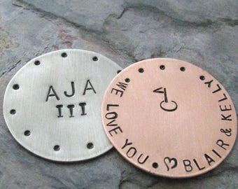ANY 2 Personalized Golf Ball Marker Copper, customization available, choose copper or silver (alkeme), two ball markers, gofler gifts