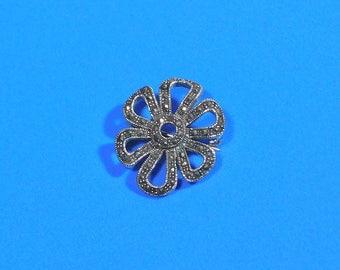 Vintage Silver Marcasite Single Flower Pin Brooch