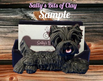 Black Cairn Terrier Business Card / Cell Phone / Post It note Holder OOAK sculpture by Sally's Bits of Clay