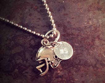 Personalized Football Number Charm Necklace