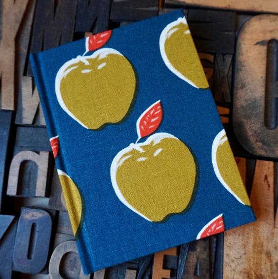 Fabric Covered Journal - Apple Pattern - Small Lined