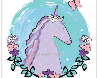 Unicorn Art Print, Unicorn decor, Unicorn wall decor, Unicorn art Decor, Magical Unicorn art, unframed 8 x 10
