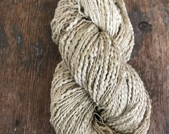 Peppermint dyed, thick and thin cotton yarn, 300 yards, plant dyed, tan grey yarn, botanical dyes, lace to fingering weight