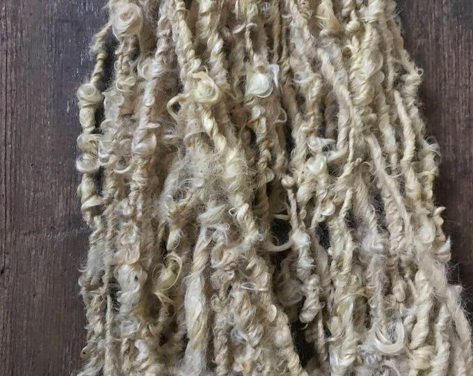 Safflower dyed Lincoln Locks, 60 yards handspun yarn, soft yellow yarn, lockspun yarn, curly handspun yarn,
