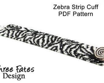 Beaded Bracelet Pattern - Zebra Stripes,  Peyote Stitch, Cuff Pattern, White and Black, Beadwork, Instant Download