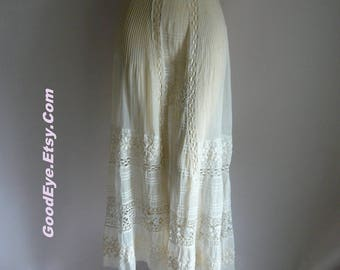 Sheer Embroidered Pintuck Edwardian Skirt / Small Waist 26 27 inches / White Linen Cotton Lace  / A line Tea Length Underslip 1910 20s