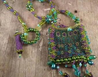 amulet medicine bag necklace bead weaving bright vivid colored with amethyst green aqua purple