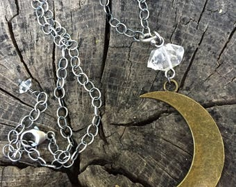 Crescent Moon with Herkimer Diamond Necklace