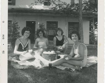 vintage photo 1962 Women Bathing Suits Peeling potatoes drinking coke on the Lawn