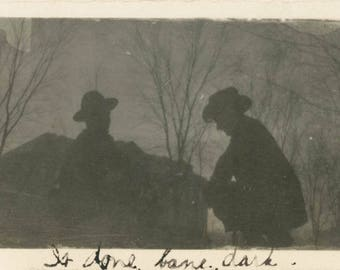 "vintage photo 1919 Two Cowboy Men in Silhouette ""IS Done Bane Dark"" abstract"
