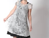 Sheer floral dress, White tunic dress for layering with black floral pattern, short sleeves, MALAM, Womens dresses, FR 40/ UK 12