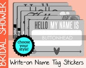 10 Wedding Name Tags Wedding Stickers - Bridal Shower Name Tags Stickers - Damask, Paisley, Chevron, Floral, or Arrow