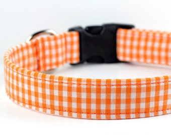 Orange Gingham Dog Collar - Plaid Dog Collar - Orange Gingham