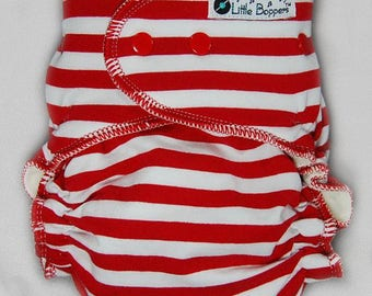 Cloth Diaper or Cover Made to Order - Red and White Stripes - You Pick Size and Style - Striped Nappy or Wrap - Candy Cane Christmas