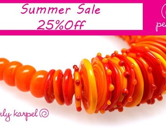 Red and Orange Lampwork beads disc disk beads set of 40 Lampwork glass beads SRA made by Pearly Karpe MTO Lampwork Beads glass beads