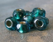 NEW Emerald Capri 6x9mm Czech Glass Gold Lined Roller Bead : 10 pc Green Blue Large Hole Pony Bead