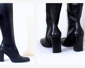 Charles David Black Italian Leather Knee High Boots High Block Heels Sz 7 EU 37-38  Made in Italy