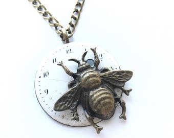 CLOSING DOWN SALE Steampunk Neo Victorian Vintage Watch Bronze Bee Pendant Necklac